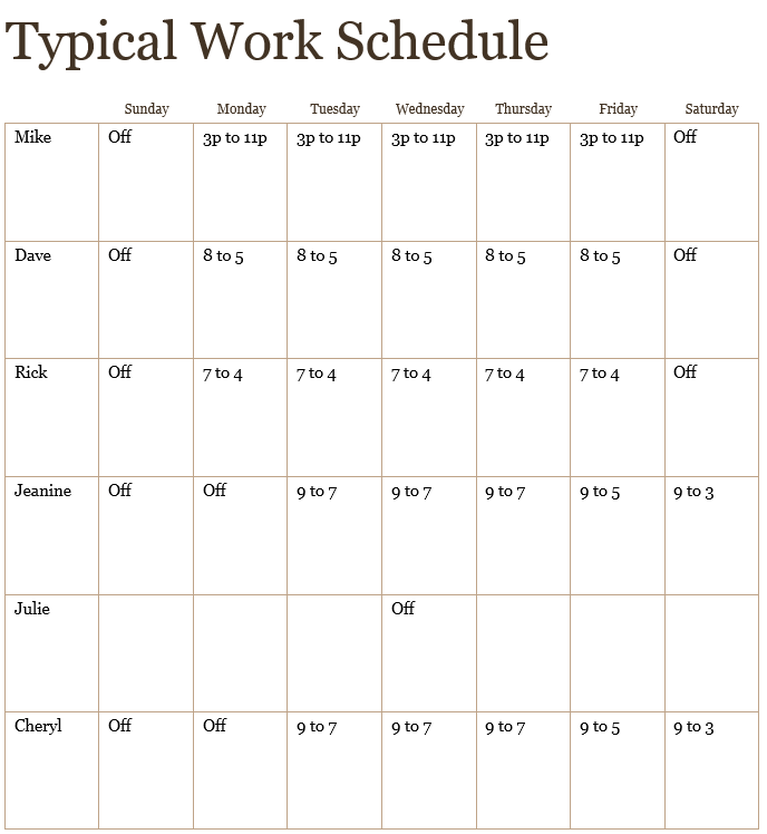 typical work schedule williams family